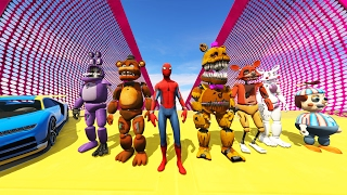 animatronics spiderman stunt off world s biggest ramps ever gta 5 mods fnaf funny moments