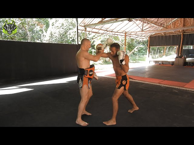 Mohamed Galaoui mitts work   Emerald Muay Thai gym