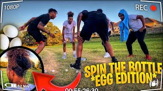 SPIN THE BOTTLE CHALLENGE!! (EGG THROW EDITION) **BAD IDEA**