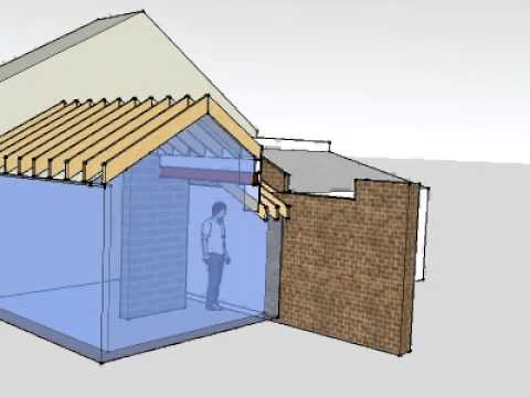 Roof detail party wall animation model youtube for Party wall section