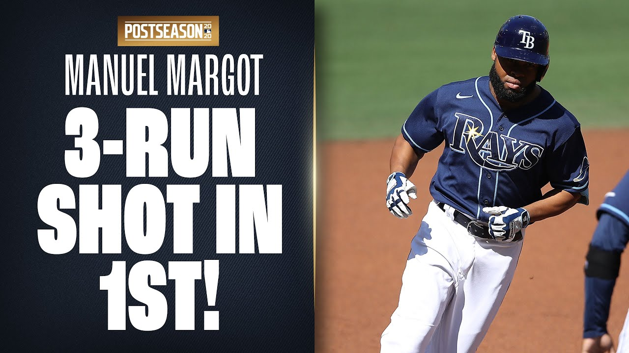 Rays' Manuel Margot smashes 3-run homer after 1st inning is extended because of error! (ALCS Game 2)