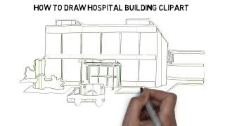 how to draw hospital building clipart