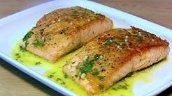 Lachs mit Haut gebraten & Zitronen Butter Sauce-Lachs knusprig & saftig gebraten-pan seared salmon