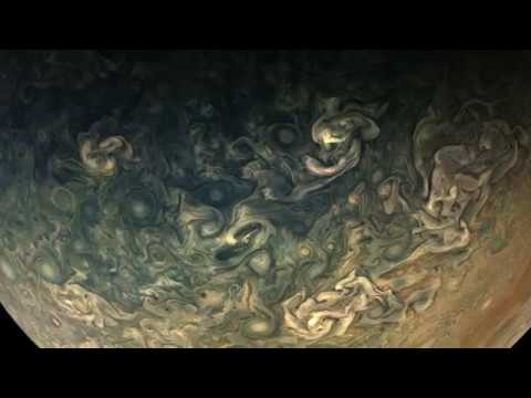 Juno's Perijove-10 Jupiter Flyby, Reconstructed in 125-Fold Time-Lapse, Preliminary
