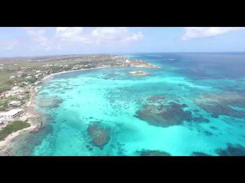 DJI Phantom 3 Drone flying over Island Harbor in Anguilla, Caribbean