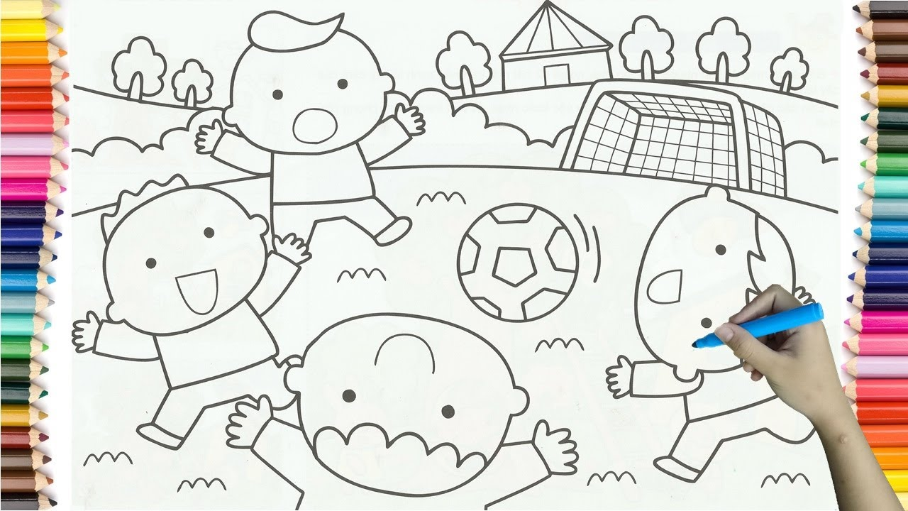 how to drawing baby boy playing football colorful for kids