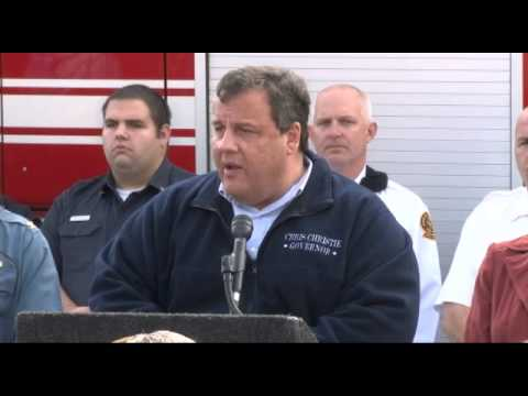 Governor Christie Press Briefing In Monmouth County On Hurricane Sandy