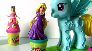 Play Doh Surprise Mickey Minnie Disney Princess Dress-up Party EGG Surpresas