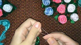 Как сделать Розочки из лент - заготовка топиария