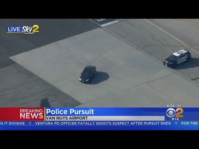 Car Chase Winds Around Planes At Van Nuys Airport