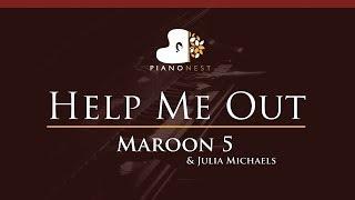 Maroon 5 & Julia Michaels - Help Me Out - HIGHER Key (Piano Karaoke / Sing Along)