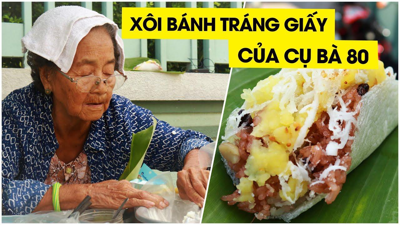 Hấp dẫn món xôi ngọt gói trong bánh tráng giấy của bà cụ hơn 80 tuổi