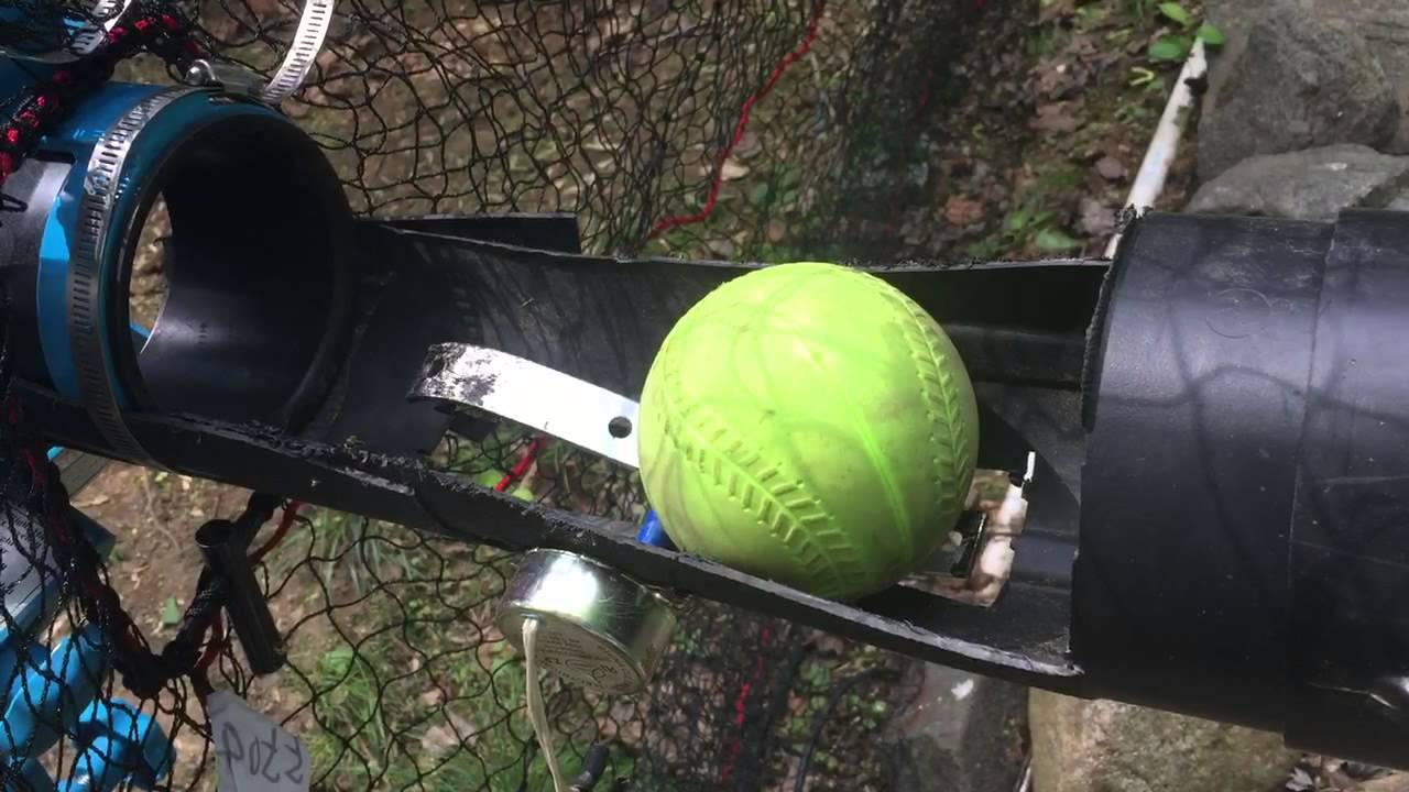 How do I build a tennis ball pitching machine?