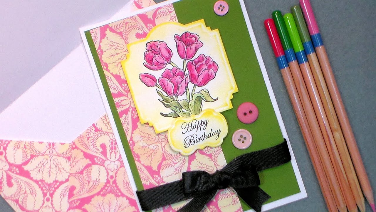 Tulip Happy Birthday Card With Cheap Watercolor Pencils Paper