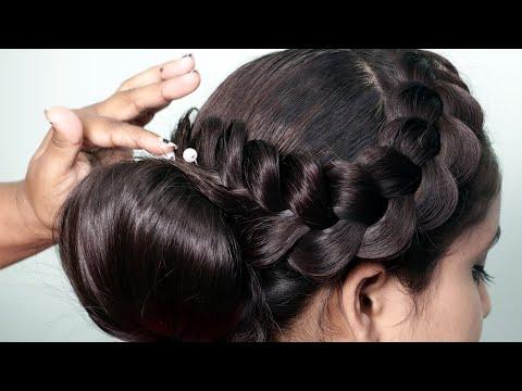 Indian wedding hairstyles   Beautiful Bridal hairstyles with braids   Indian bridal bun hairstyles thumbnail