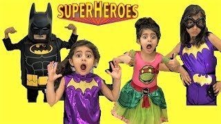 Sally SuperHeroes Costumes Runway Show!!!! Kids fun dress-up video