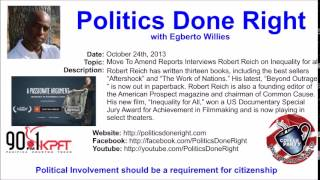 Politics Done Right on Coffee Party - Robert Reich discusses his new movie Inequality For All