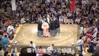 平成25年大相撲秋場所12日目、遠藤vs.徳勝龍の取り組みです。物言いがつ...