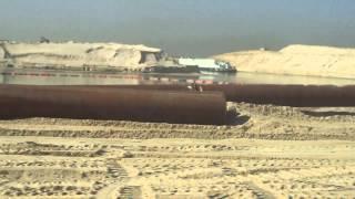 مشهد عام للحفر والتكريك بالكيلو84بقناة السويس الجديدة