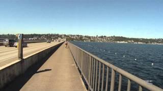 Riding I-90 Floating Bridge, Mercer Island to Seattle WA USA