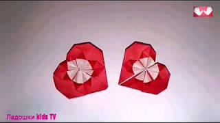 Поделки ко дню Св.Валентина.Валентинка без клея с цветком своими руками.Оригами.