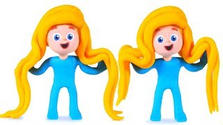 BABY PRINCESS SUPER LONG HAIR ❤ Superhero Babies Play Doh Cartoons For Kids