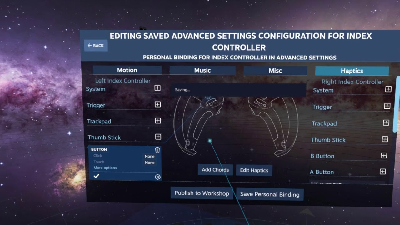 Workaround for Index controller thumb stick click issue (OpenVR Advanced  Settings)