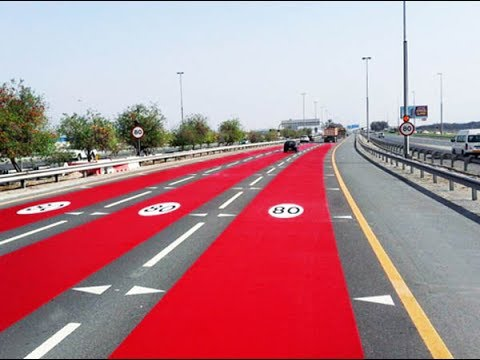Coloured asphalt to alert motorists to speed limit changes - YouTube