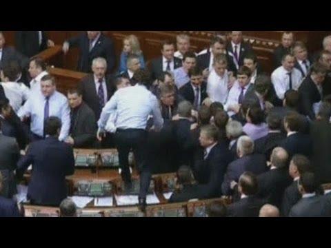 Ukrainian politicians fight in parliament