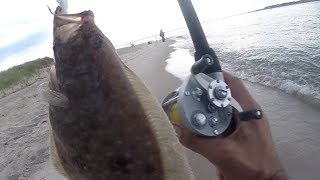 Fluke on GULP Bait - OLD MEETS NEW - Vintage Pflueger SUPREME Baitcasting Fishing Reel