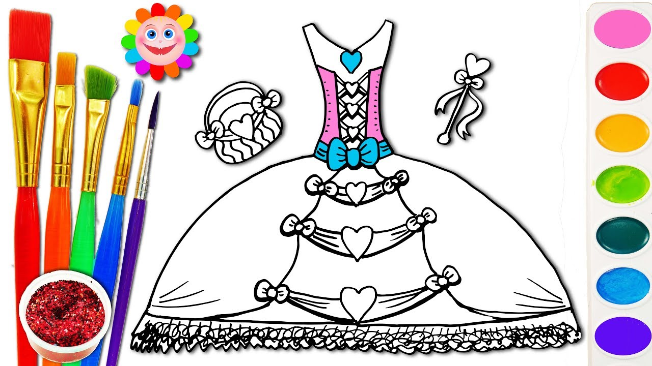 Barbie Fashion Dress Coloring Page | Learn Colors For Girls and Kids ...