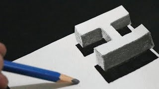 3d Trick Art on paper - Floating Letter