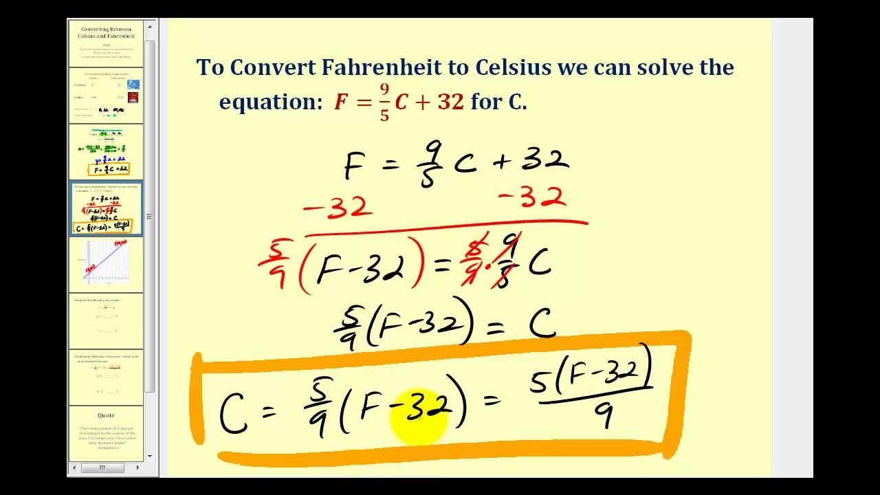 worksheet Equation To Convert Fahrenheit To Celsius converting temperature between celsius and fahrenheit youtube fahrenheit