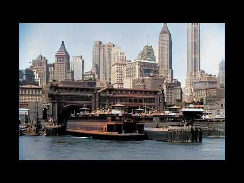 Spectacular New York, Lower Manhattan Waterfront in the 1930's in color! [AI enhanced & colorized]