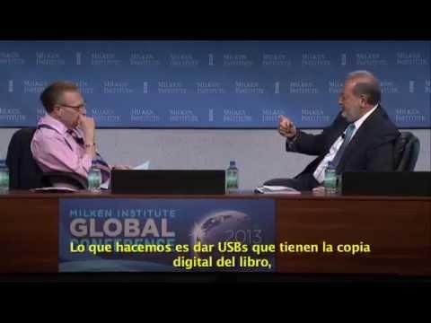 Carlos Slim en entrevista con Larry King, en la Conferencia Global 2013 del Milken Institute.