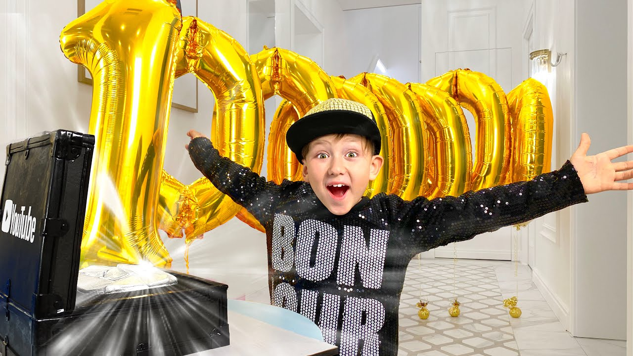 10 Million Subscribers! Surprise party and toys for Senya