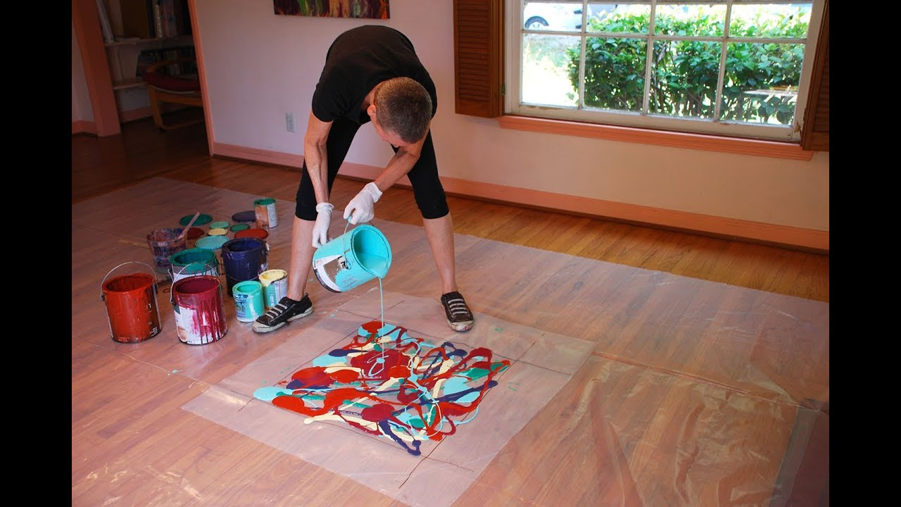 cassandra tondro, abstract painting using leftover house paint