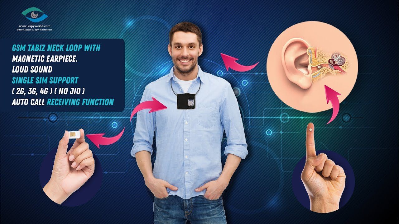 Gsm neckloop with spy earpiece nano size - magnetic earpiece spy earphone for secret communication.