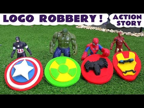 Spiderman and Avengers Logo Robbery Play Doh Thomas & Friends Story | Ultron Hulk & Iron Man