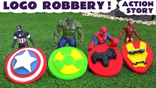 Spiderman and Avengers Logo Robbery Play Doh Thomas and Friends Story | Ultron Hulk & Iron Man