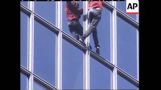 Spiderman climbed one of the highest building in Paris