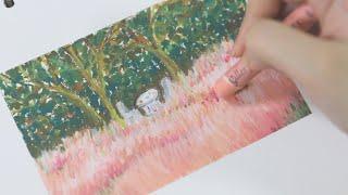 오묘한 색이 가득한 핑크뮬리 오일파스텔로 그리기(ASM…