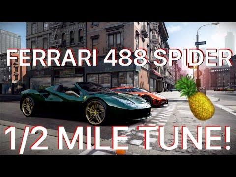 CSR Racing 2 Tune T5 Ferrari 488 Spider 1/2 Mile!