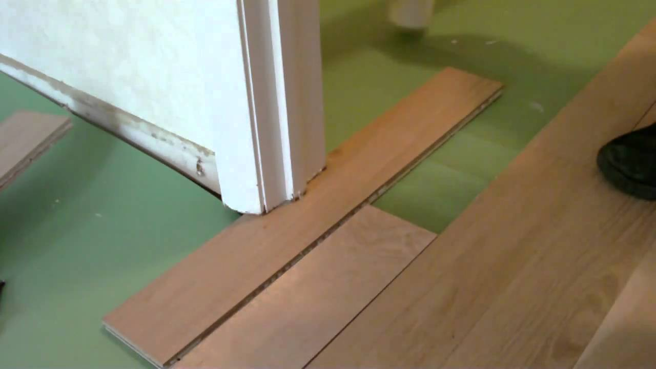 Install Floating Wood Floor Under Door Jamb Mp4 Youtube