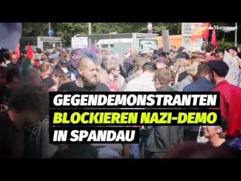 Neonazi-Demo in Spandau von Gegendemonstranten blockiert