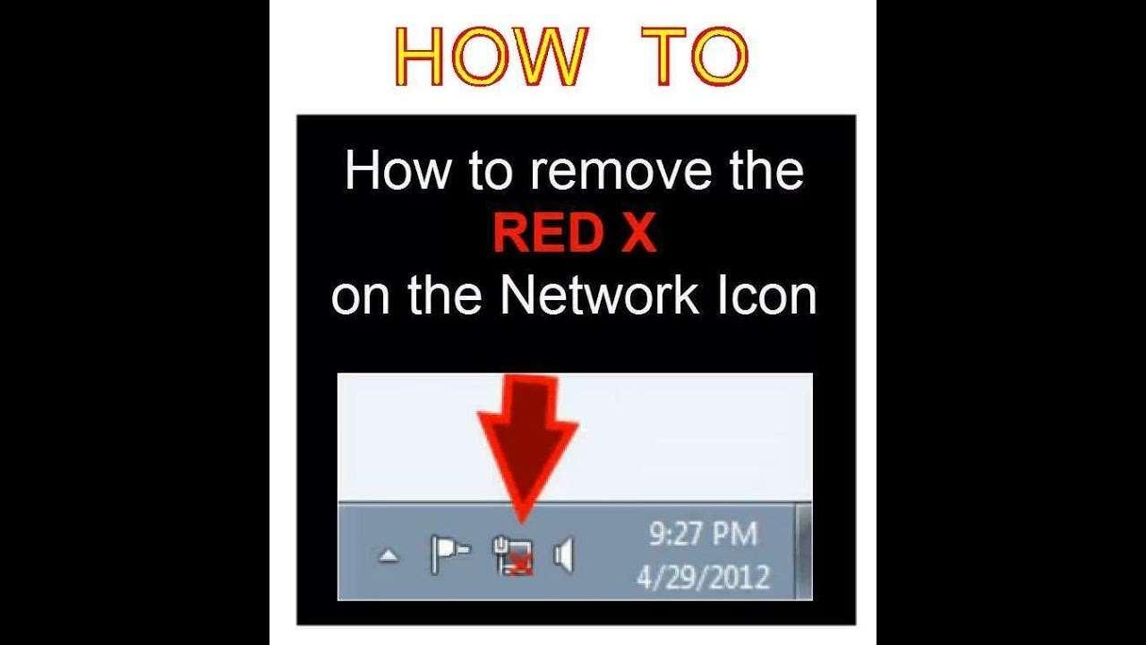 How To Remove The Red X On The Network Icon Youtube