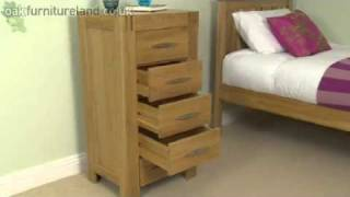 Alto Solid Oak 5 Drawer Tall Chest From Oak Furniture Land