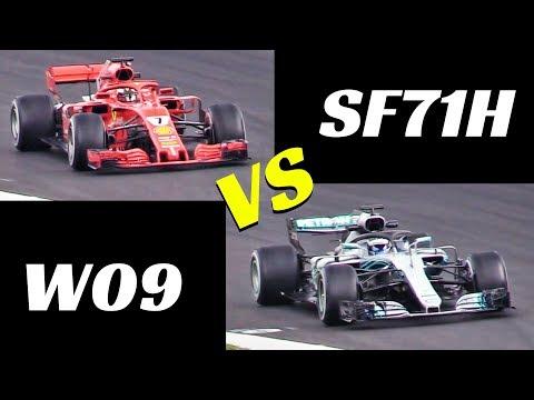 2018 Ferrari SF71H vs Mercedes W09 - Comparison on track - Formula 1 Pre-Season Test, Spain Montmelò