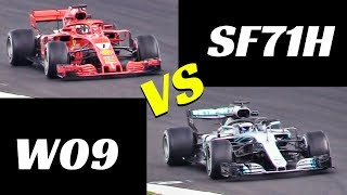 2018 Ferrari SF71H vs Mercedes W09 - Comparison on track - Formula 1 Pre-Season Test, Spain Montmelò