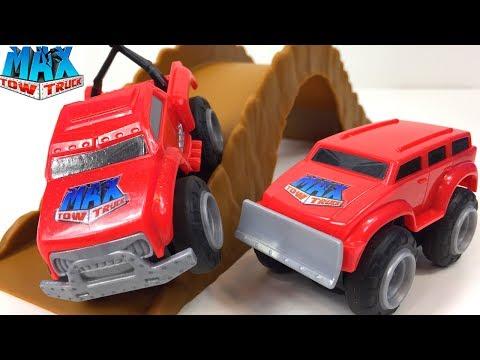 max-tow-truck-mini-rev-n'-tow-vehiculo-con-remolque-trailer-y-pista-con-obstaculos-max-mini-off-road